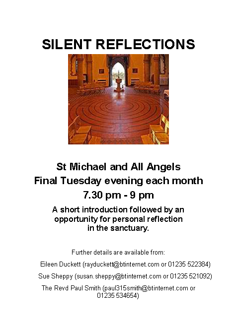 Silent Reflections, last Tuesday of the month, 7.30 to 9.00 pm