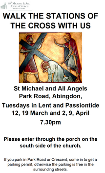 Stations of the Cross, Tuesday evenings in Lent at 7.30 pm except 26 March 2019