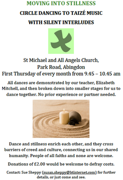 Taize circle dancing first thursday of the month, 9.45 to 10.45 am